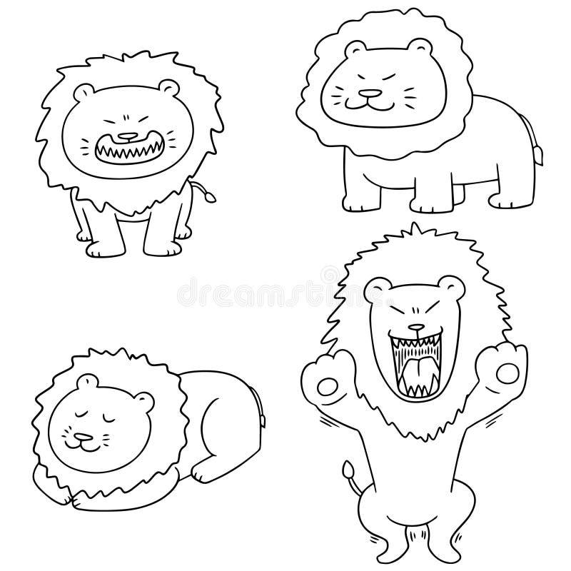 Vektoruppsättning av lejonet vektor illustrationer