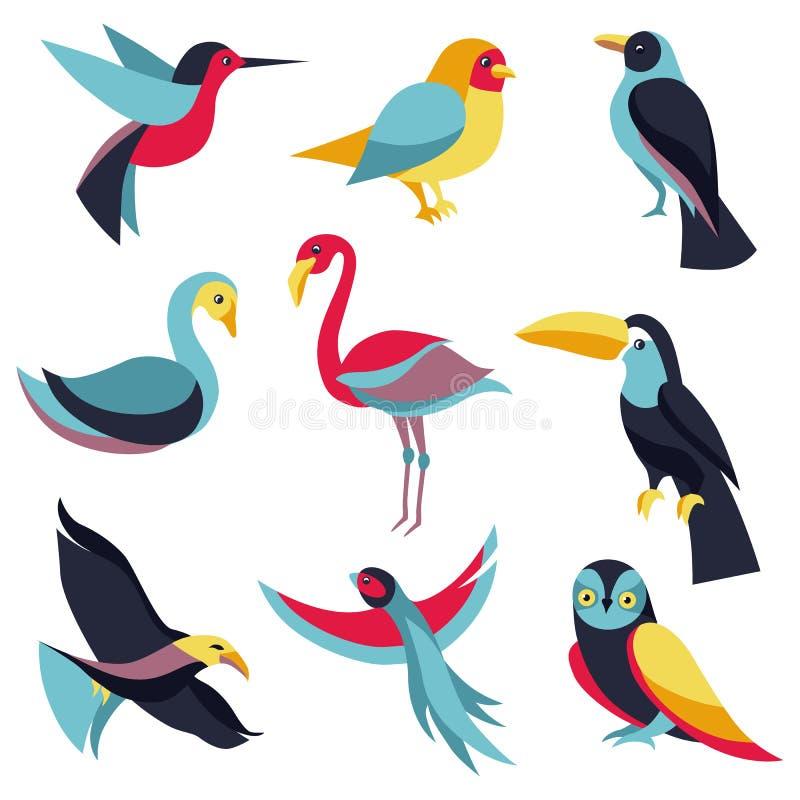 Vektoruppsättning av logodesignbeståndsdelar - fåglar undertecknar royaltyfri illustrationer