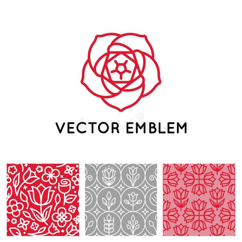 Vektoruppsättning av logodesignmallar, sömlösa modeller och tecken royaltyfri illustrationer