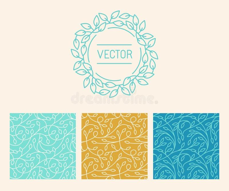 Vektoruppsättning av logodesignmallar, sömlösa modeller och tecken vektor illustrationer