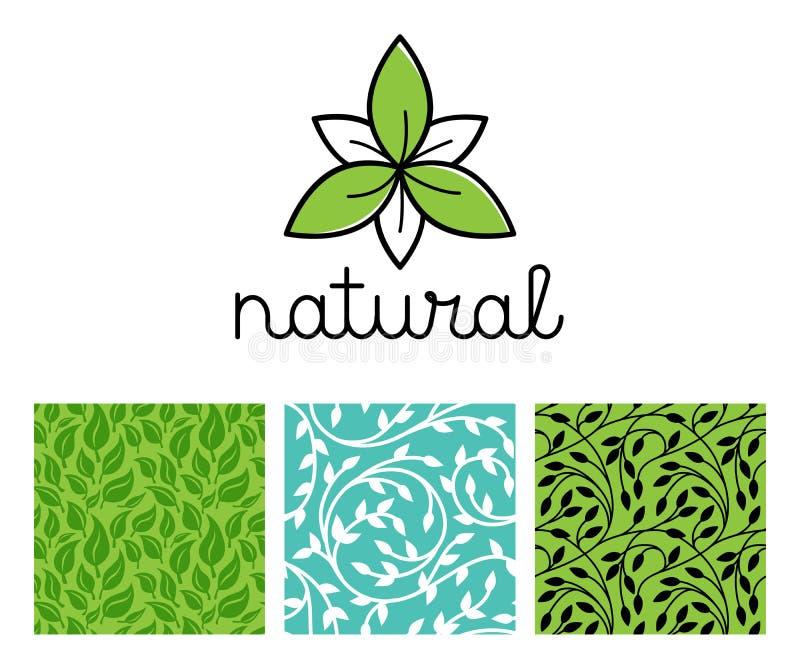 Vektoruppsättning av logodesignmallen för naturlig och organisk mat stock illustrationer
