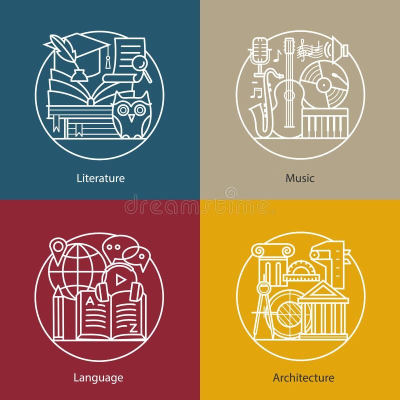 Vektoruppsättning av logoer litteratur, musik, språk, arkitektur royaltyfri illustrationer