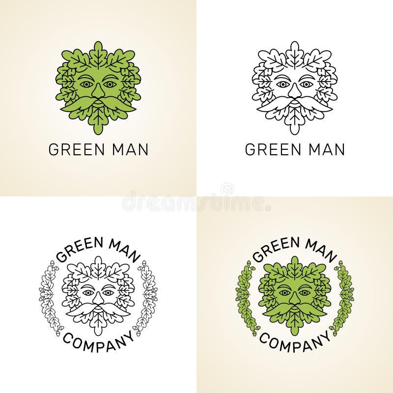 Vektoruppsättning av logoer Stiliserad grön man vektor illustrationer