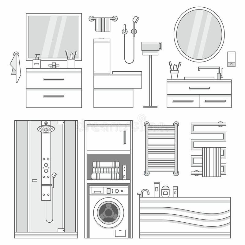 Vektoruppsättning av möblemang i badrum stock illustrationer
