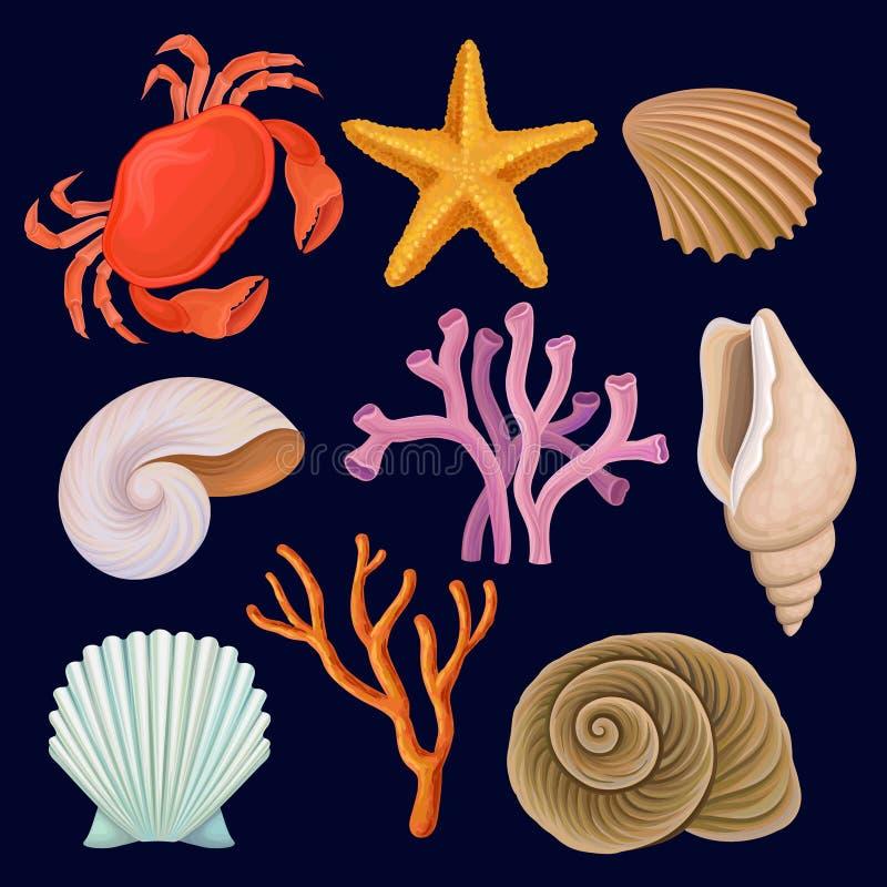 Vektoruppsättning av marin- beståndsdelar Röd krabba, sjöstjärna, tropiska koraller och skal Havs- och havtema dekorativt akvariu stock illustrationer