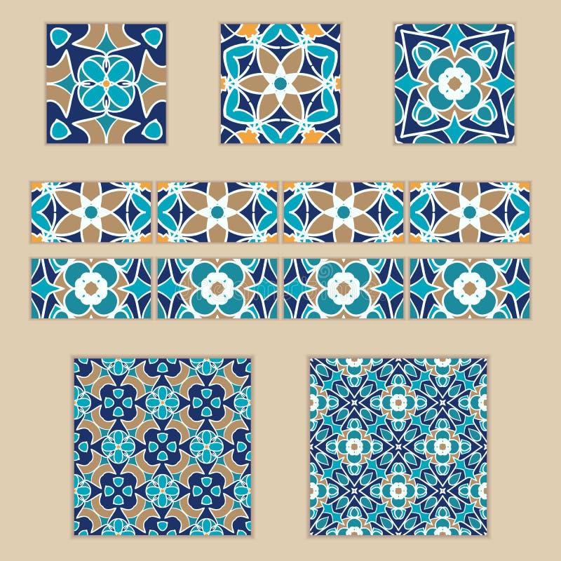 Vektoruppsättning av marockanska tegelplattor och gränser Samling av kulöra modeller för design och mode royaltyfri illustrationer