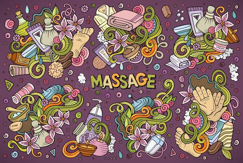 Vektoruppsättning av massage- och Spa designer vektor illustrationer