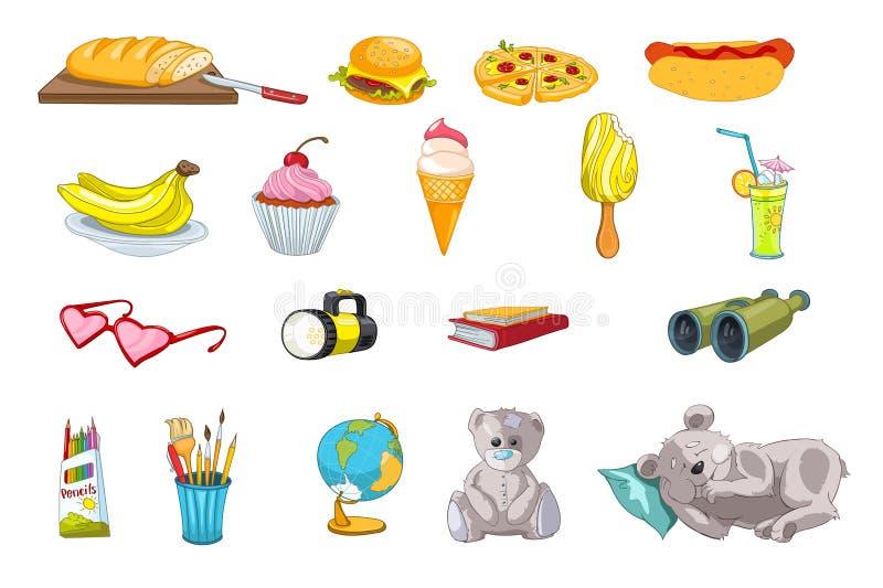 Vektoruppsättning av mat- och ungesakerillustrationer vektor illustrationer