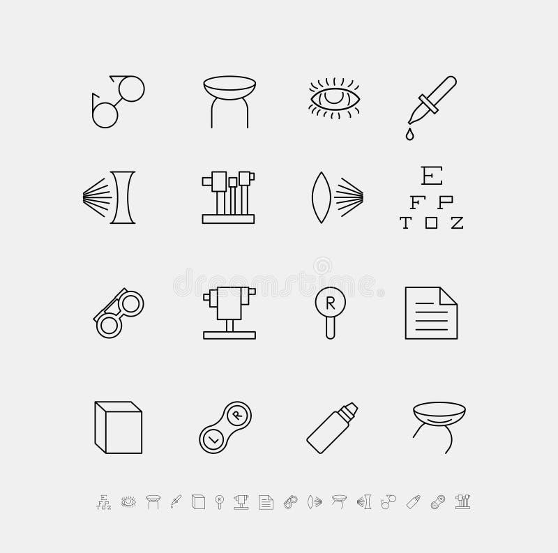 Vektoruppsättning av medicinska symboler för oftalmologi royaltyfri illustrationer