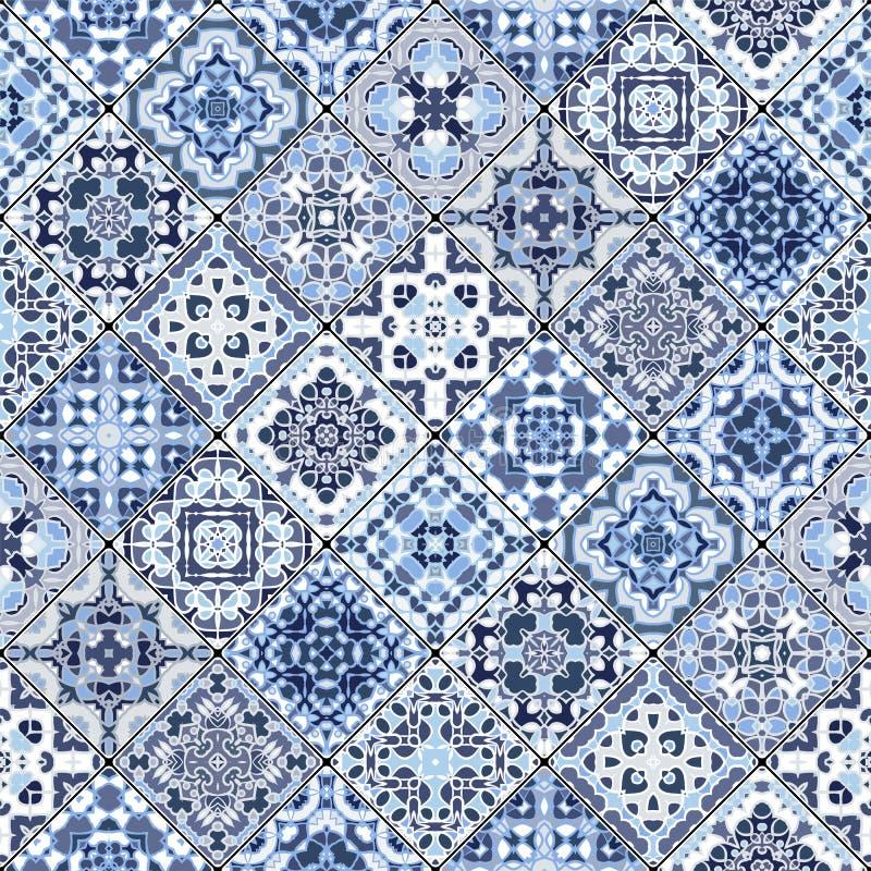 Vektoruppsättning av modeller för blå och vit fyrkant för mosaik stock illustrationer
