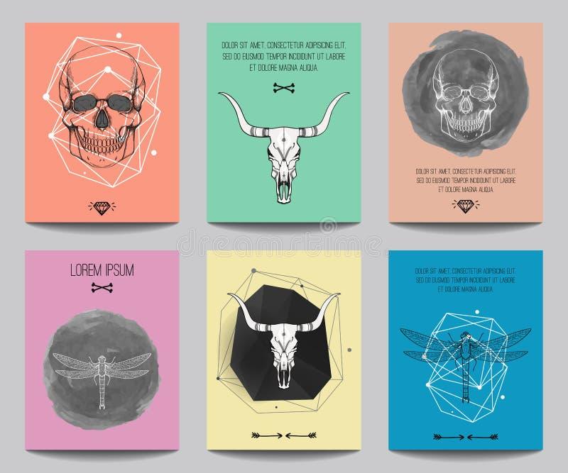 Vektoruppsättning av moderna gotiska affischer med mänskliga skallar, tjurskallar vektor illustrationer