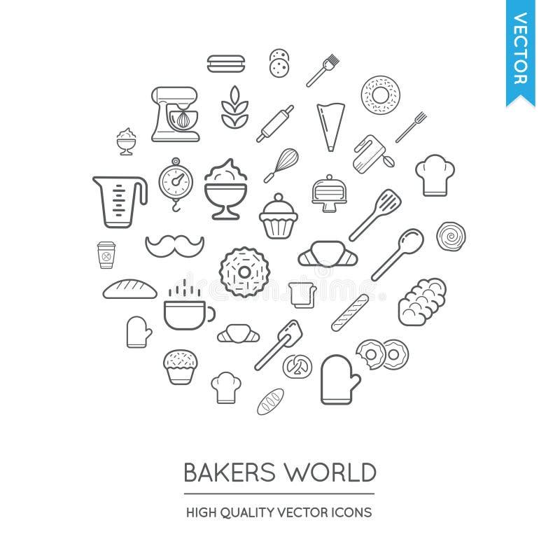 Vektoruppsättning av moderna plana tunna symboler för bageri som inskrivas i runda S vektor illustrationer