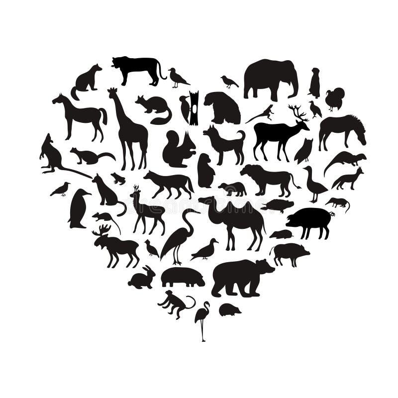 Vektoruppsättning av mycket detaljerade djura konturer med namn royaltyfri illustrationer