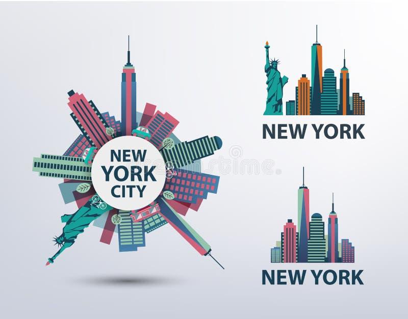 Vektoruppsättning av NYC, New York City symboler, logoer royaltyfri illustrationer
