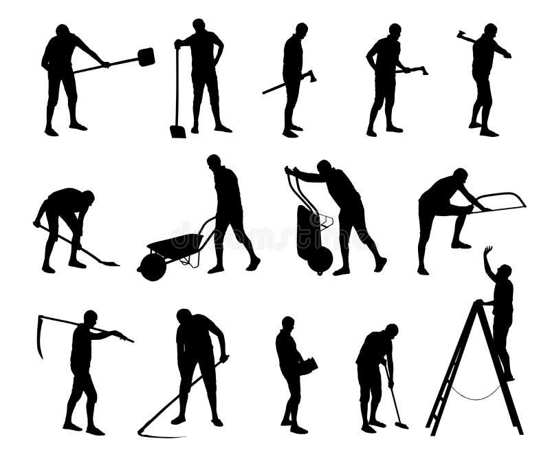 Vektoruppsättning av oerfarna konstruktions- och underhållsarbetare vektor illustrationer