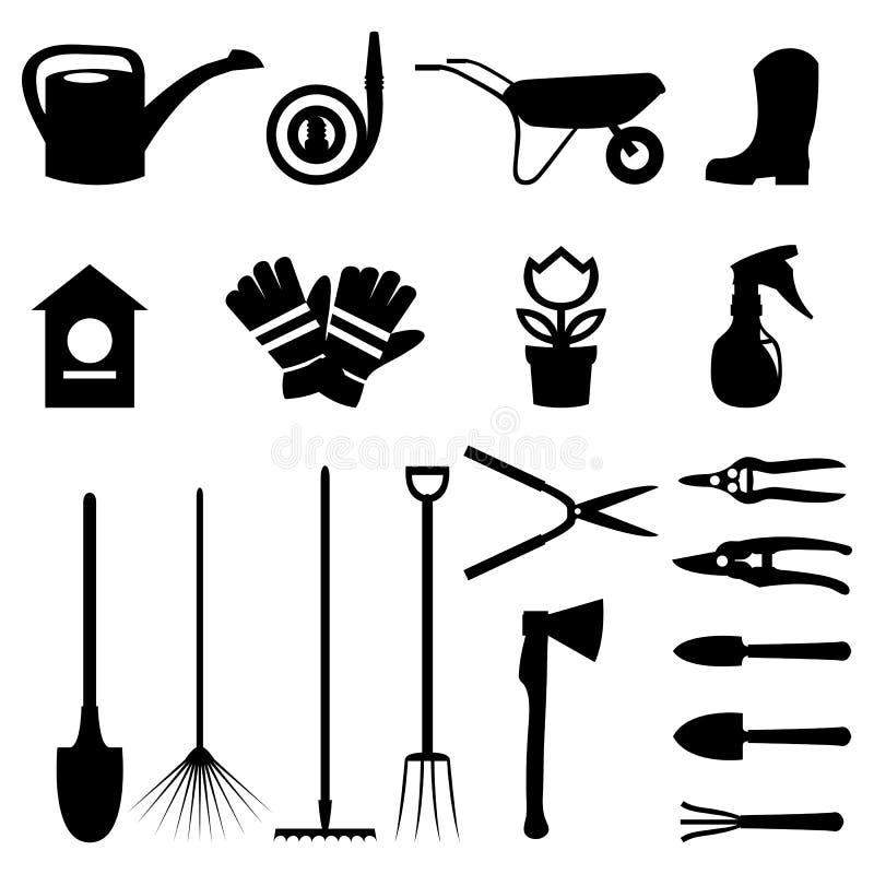 Vektoruppsättning av olika arbeta i trädgården objekt och trädgårds- hjälpmedel i plan design fotografering för bildbyråer