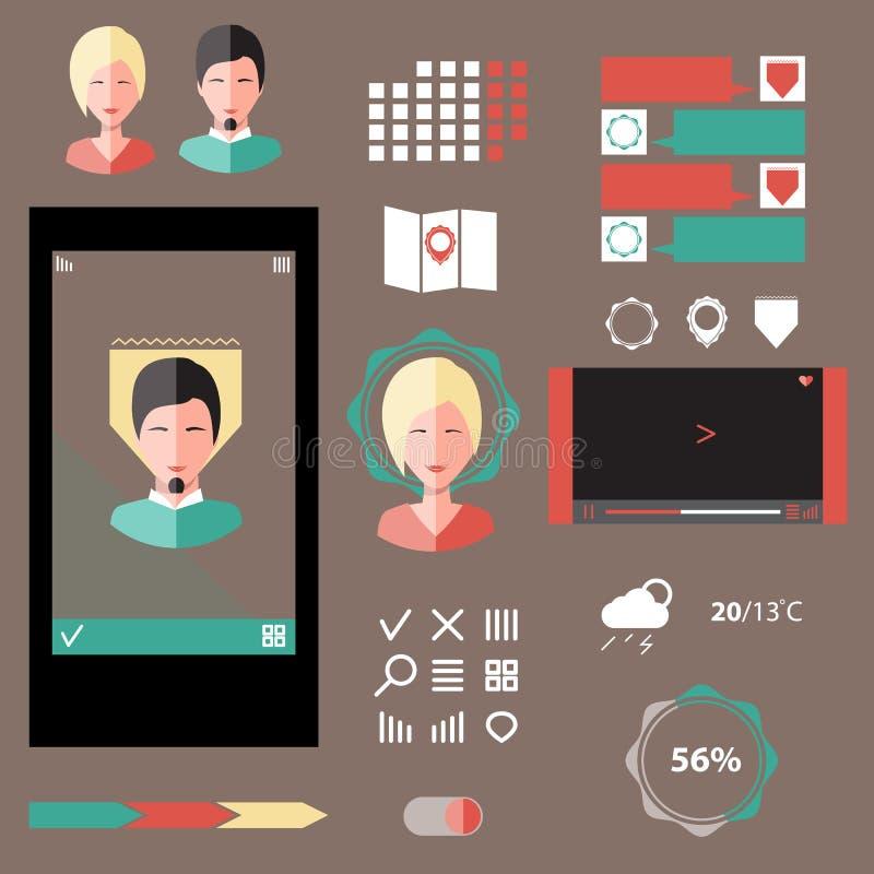 Vektoruppsättning av olika beståndsdelar som används för användargränssnittprojekt, stock illustrationer