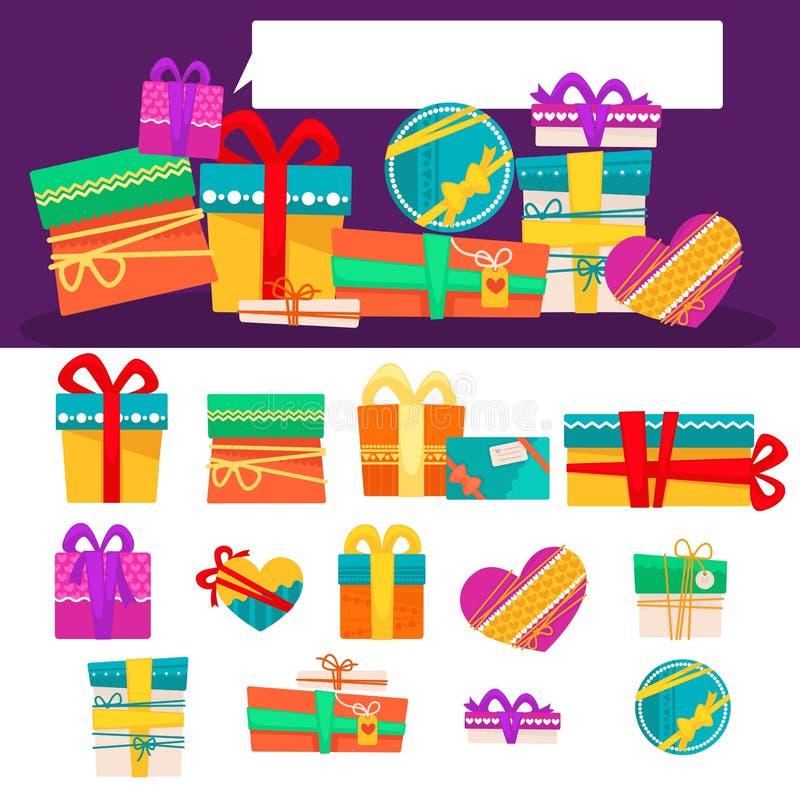 Vektoruppsättning av olika färgrika gåvaaskar med band och pilbågar Plan design vektor illustrationer