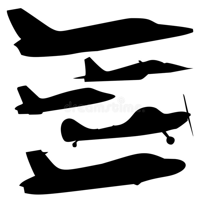 Vektoruppsättning av olika flygplansymboler royaltyfri illustrationer