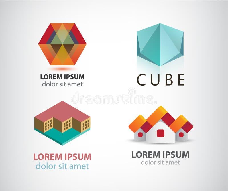 Vektoruppsättning av olika logoer royaltyfri illustrationer