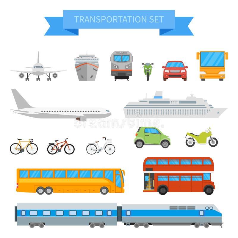 Vektoruppsättning av olika trans.medel som isoleras på vit bakgrund Symboler för stads- transport i plan stildesign vektor illustrationer