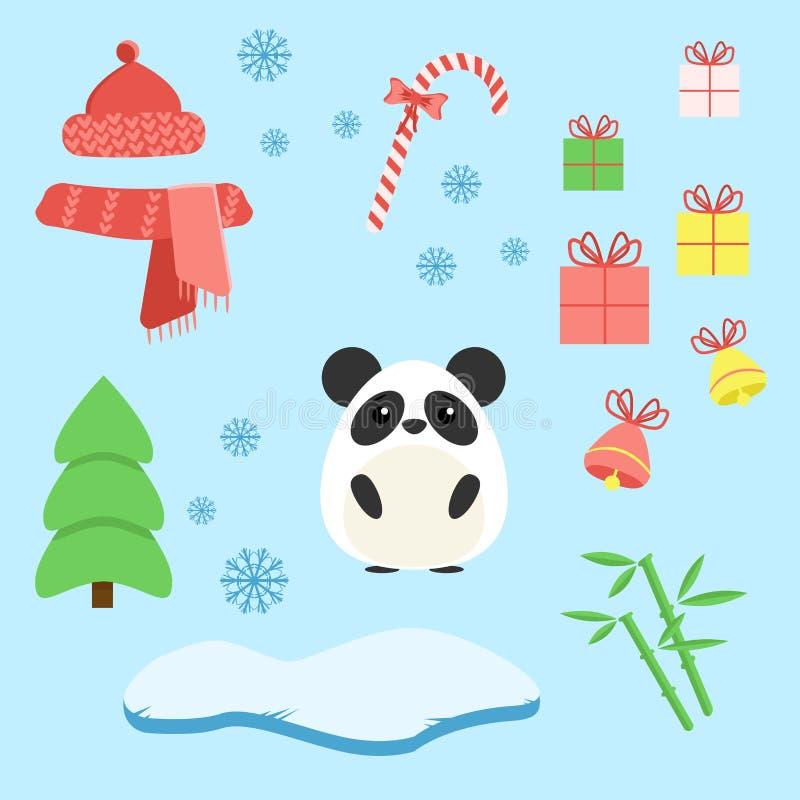 Vektoruppsättning av pandan med xmas-personalen: klubba, gåvor, träd, isberg, hatt och halsduk, bambu och klockor vektor illustrationer