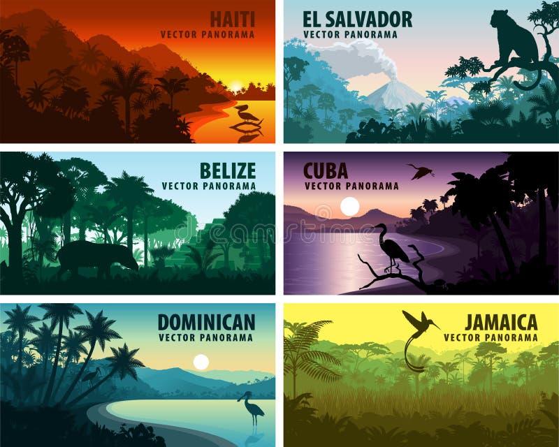 Vektoruppsättning av panoramsländer av karibiskt och Central America stock illustrationer