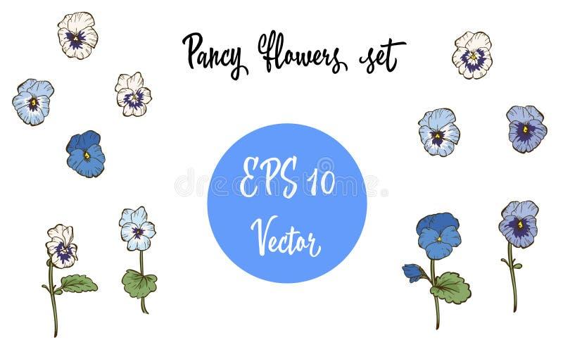 Vektoruppsättning av Pansy Flowers och sidor som isoleras på vit bakgrund royaltyfri illustrationer