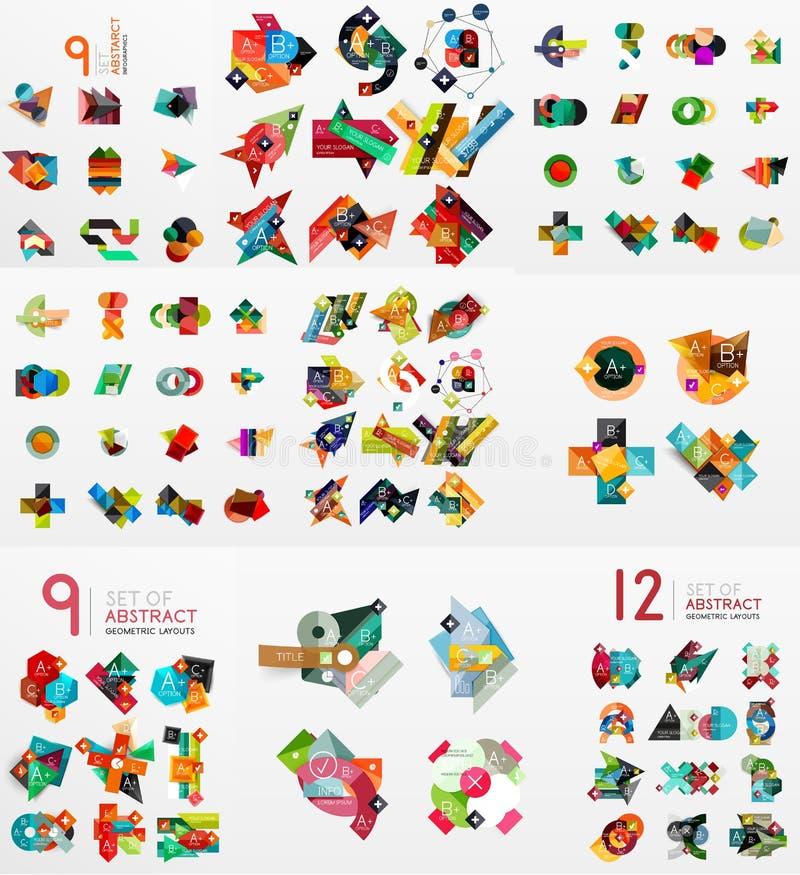 Vektoruppsättning av pappers- diagram royaltyfri illustrationer