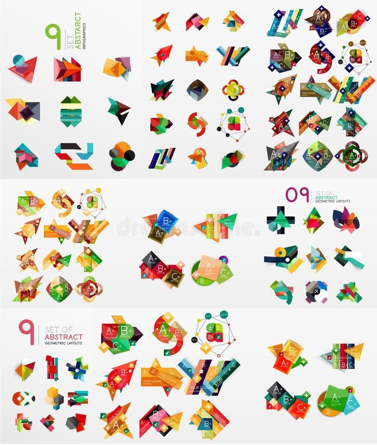 Vektoruppsättning av pappers- diagram stock illustrationer