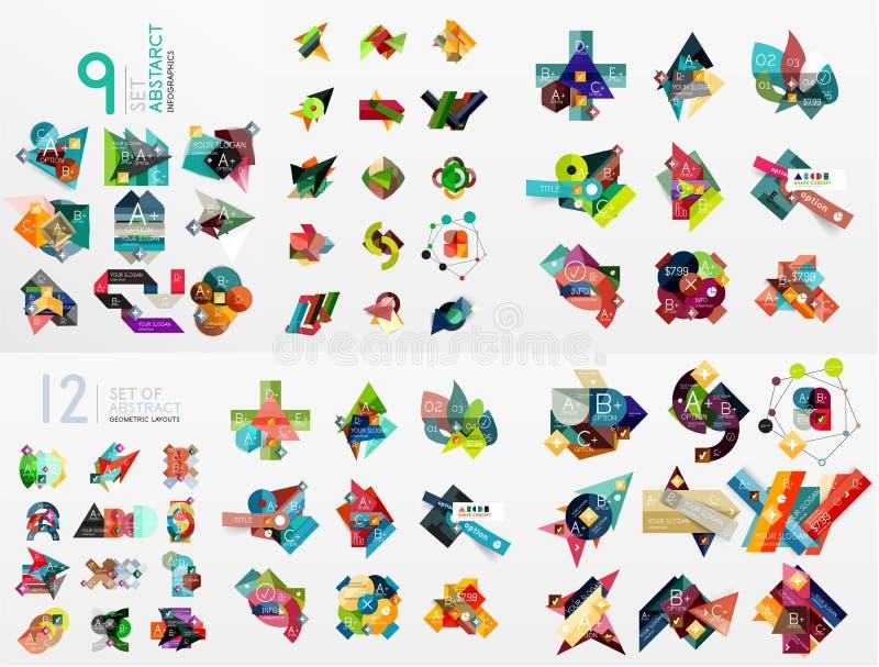 Vektoruppsättning av pappers- diagram vektor illustrationer