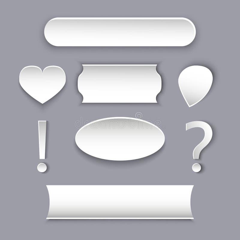 Vektoruppsättning av pappersmodeller och kort för diagram och text Olik vit form med en volymeffekt stock illustrationer