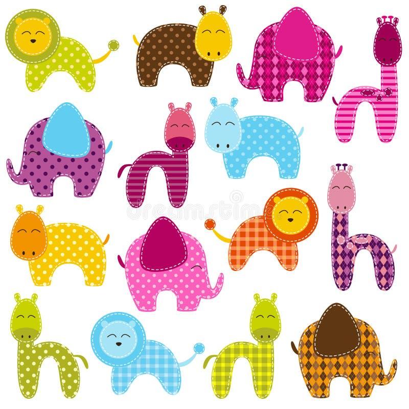 Vektoruppsättning av patchworkdjur royaltyfri illustrationer