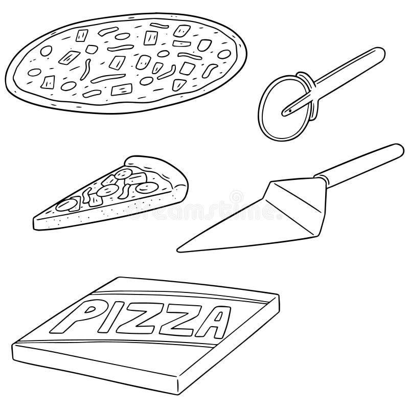 Vektoruppsättning av pizza royaltyfri illustrationer