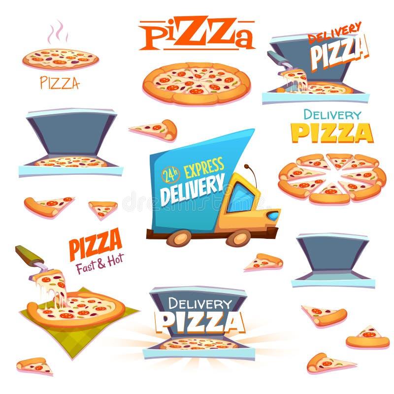 Vektoruppsättning av pizzasymboler, etiketter, tecken, symboler stock illustrationer