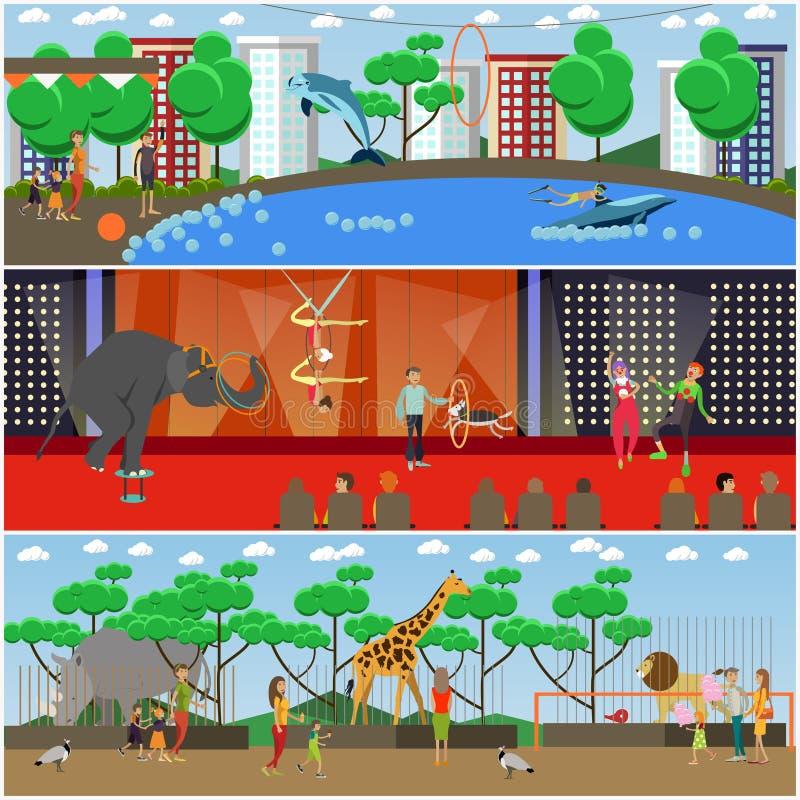 Vektoruppsättning av plana affischer för delfinarium, för cirkus och för zoo, baner stock illustrationer