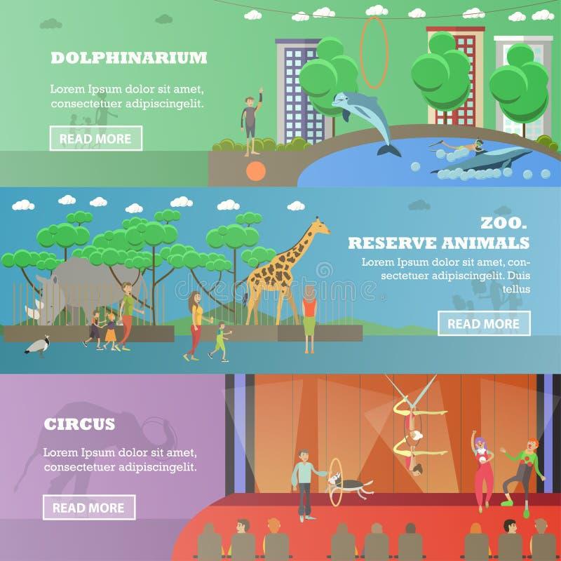 Vektoruppsättning av plana horisontalbaner för delfinarium, för cirkus och för zoo vektor illustrationer