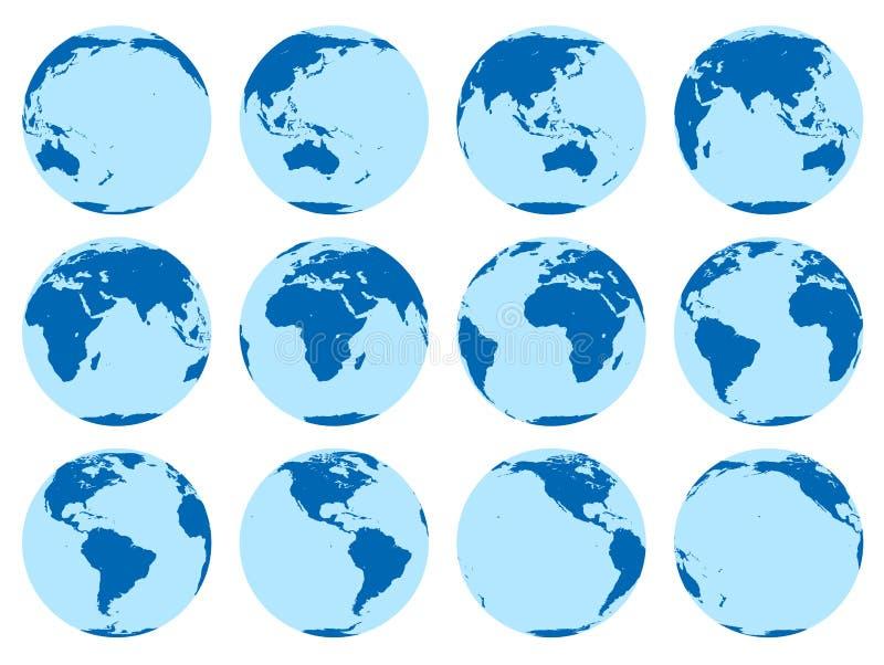 Vektoruppsättning av 12 plana jordklot som visar jord i 30 grader rotation royaltyfri illustrationer