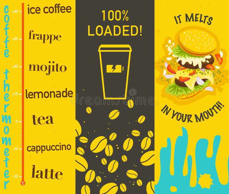 Vektoruppsättning av plana ljusa kulöra smakliga baner med kaffe och smörgåsen stock illustrationer