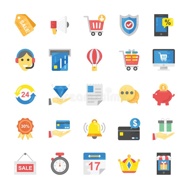 Vektoruppsättning av plana online-shopping- och kommerssymboler stock illustrationer