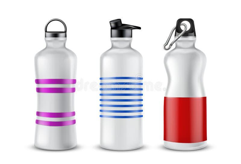 Vektoruppsättning av plast- sportflaskor för drinkar vektor illustrationer
