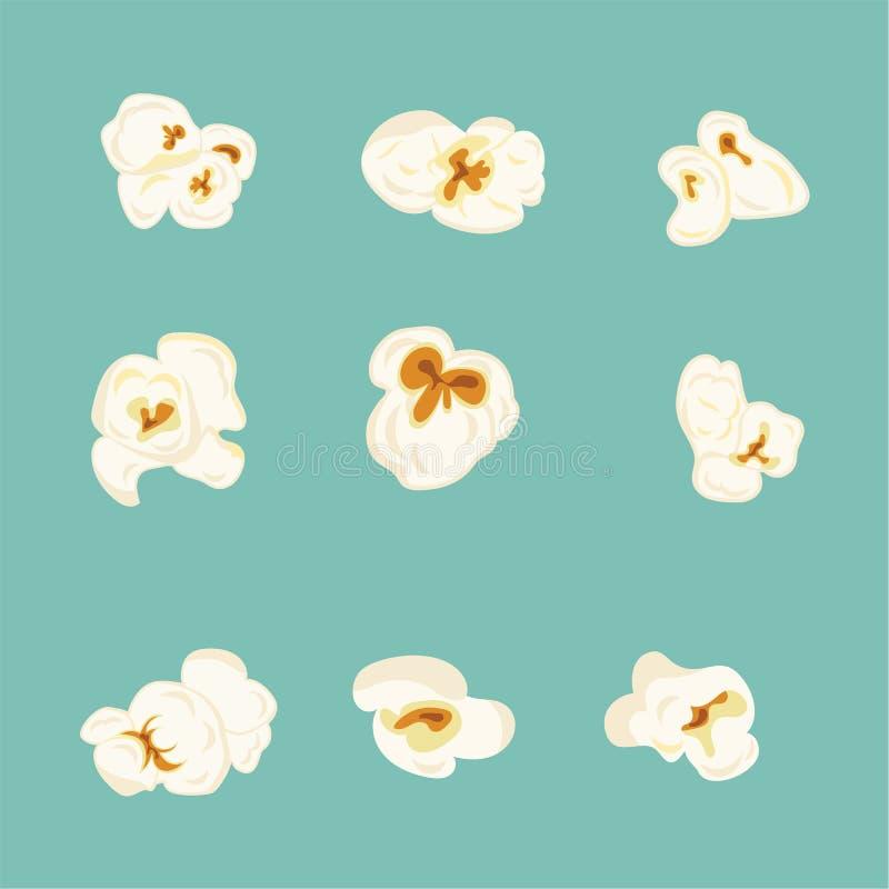 Vektoruppsättning av popcornbeståndsdelar stock illustrationer
