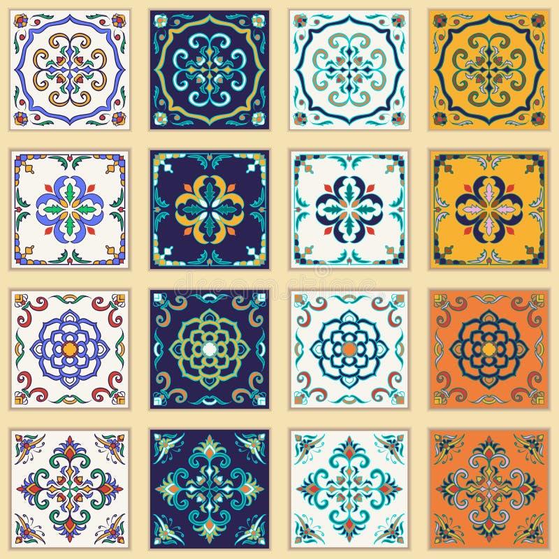 Vektoruppsättning av portugisiska tegelplattor Härliga kulöra modeller för design och mode stock illustrationer