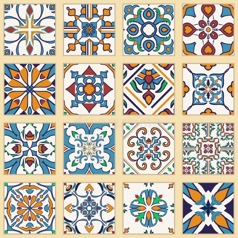 Vektoruppsättning av portugisiska tegelplattor Samling av kulöra modeller för design och mode royaltyfri illustrationer