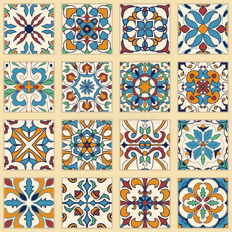 Vektoruppsättning av portugisiska tegelplattor Samling av kulöra modeller för design och mode vektor illustrationer