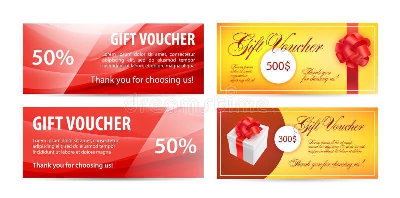 Vektoruppsättning av presentkort Krabb siden- bakgrund, röd färg, realistisk gåva vektor illustrationer