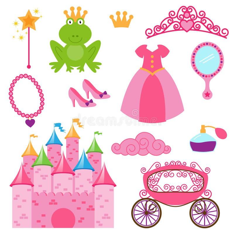 Vektoruppsättning av prinsessa- och feobjekt stock illustrationer