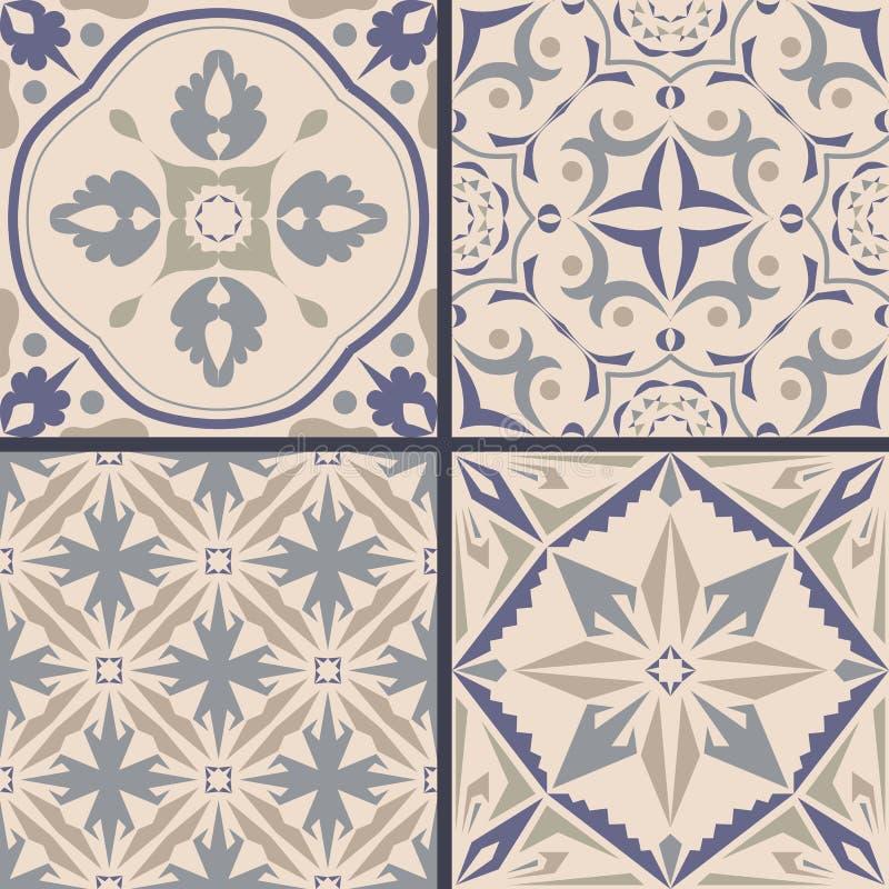Vektoruppsättning av prydnader för keramisk tegelplatta Dekorativa modeller för portugisiska azulejos stock illustrationer