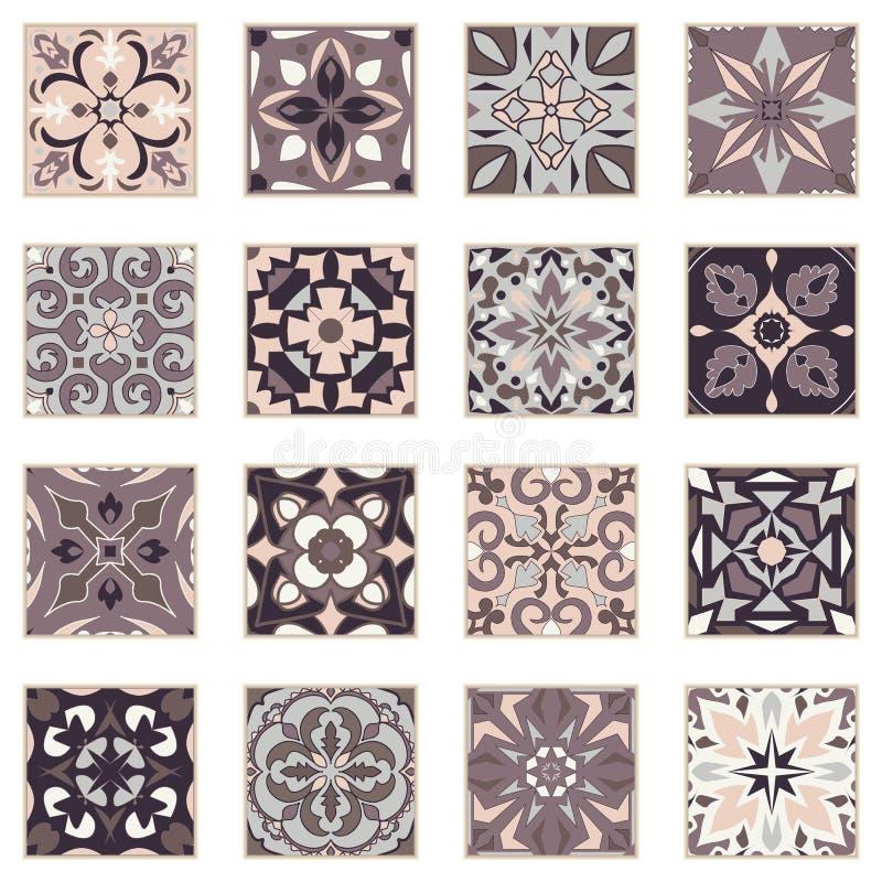 Vektoruppsättning av prydnader för keramisk tegelplatta Dekorativa modeller för portugisiska azulejos royaltyfri illustrationer