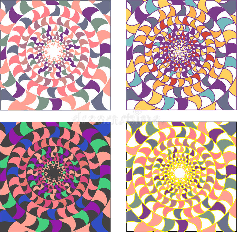 Vektoruppsättning av psykedeliska färgade runda mosaikprydnader S royaltyfri illustrationer
